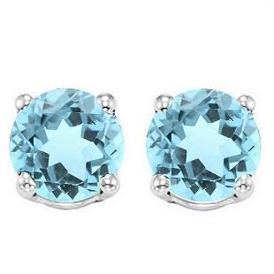 6MM Sky Blue Topaz Stud Earrings in Sterling Silver