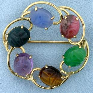 Vintage Hand Carved Scarab Pin in 14K Yellow Gold