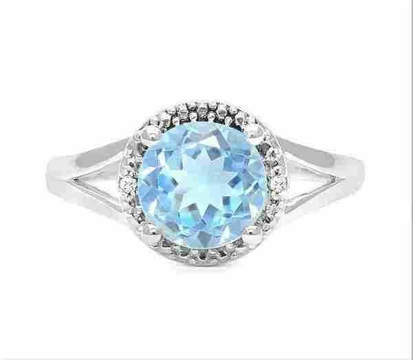 1.8CT Sky Blue Topaz & Diamond Ring in Sterling Silver