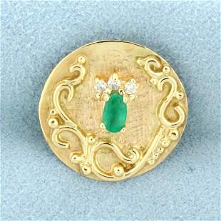 Emerald and Diamond Slide or Pendant in 14K Yellow Gold