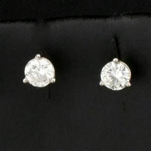 1/2ct TW Diamond Stud Earrings in 14k Platinum Martini