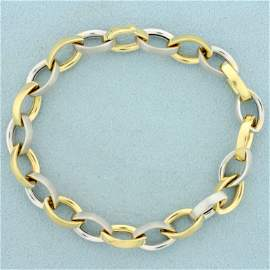 Designer Rolo Link Link Two Tone Bracelet in 14K Yellow
