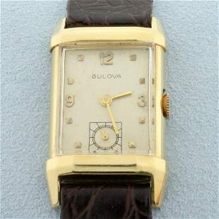 Mens Vintage Bulova Manual Wind Wrist Watch With Solid