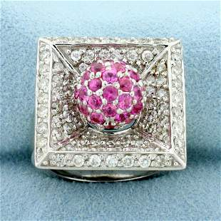 1.5ct TW Pink Sapphire and Diamond Ring in 14K White