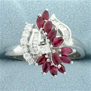 Designer 1.5ct TW Natural Ruby and Diamond Ring in 18K