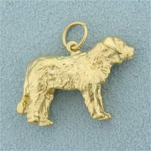 St. Bernard Dog Pendant in 14K Yellow Gold