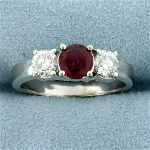 Natural Ruby and Diamond Three-stone Ring in 14k White
