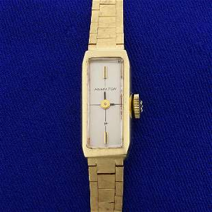Antique Windup Ladies Hamilton Watch in Solid 14K