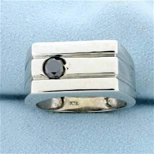 Men's 1/2Cct Black Diamond Ring in 10K White Gold