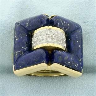 Lapis Lazuli and Diamond Statement Ring in 14K Yellow