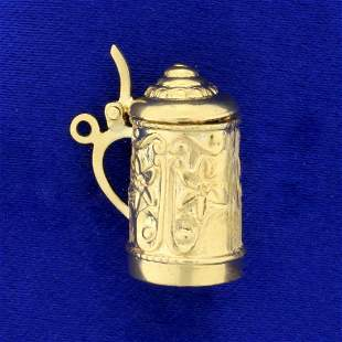 Beer Stein Charm or Pendant in 18K Yellow Gold