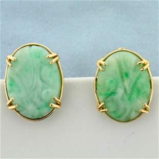 Vintage Hand Carved Jade Screw back Earrings in 14K