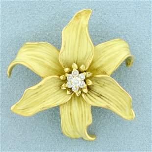 Designer Diamond Flower Pin in 18K Yellow Gold