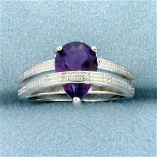 1.7CT Amethyst & Diamond Ring in Sterling Silver
