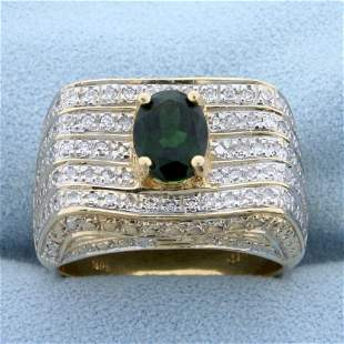 Vintage 2ct TW Chrome Tourmaline and Diamond Ring in