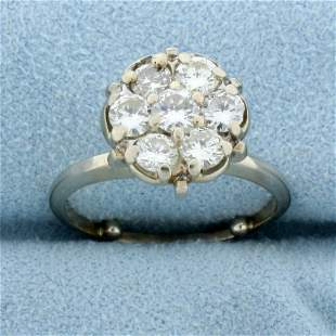 1ct TW Diamond Vintage Cluster Ring in 14K White Gold