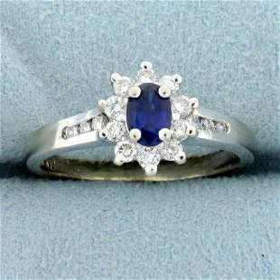 3/4ct TW Natural Sapphire and Diamond Halo Ring in 14K