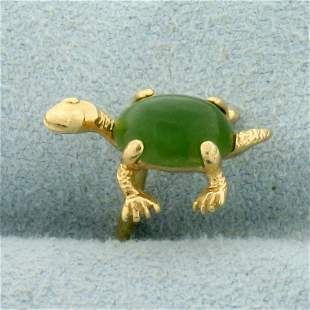 Jade Turtle Tie Tack With Chain in 14K Yellow Gold
