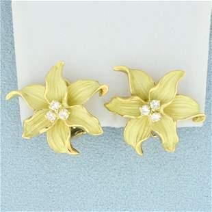 Designer Diamond Flower Earrings in 18K Yellow Gold