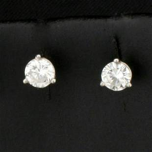 1/2ct TW Diamond Stud Earrings in 14k Platinum Martini