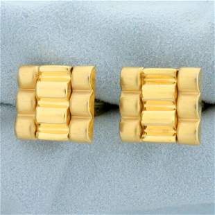 Rolex President Design Cuff Links in 14K Yellow Gold