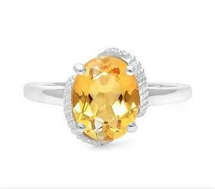 2.4CT Citrine & Diamond Ring in Sterling Silver