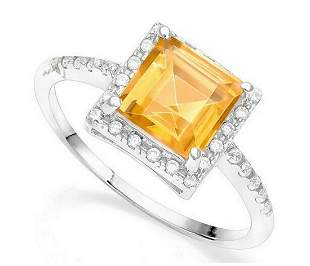 Large 1.5CT Citrine Halo Ring in Sterling Silver
