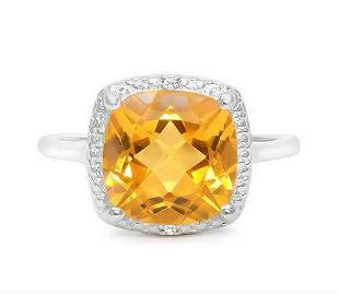 Huge 4CT Cushion Cut Citrine & Diamond Ring in Sterling