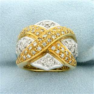 Vintage Diamond Criss Cross Design Statement Ring in
