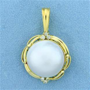 Large Mabe Pearl and Diamond Pendant in 18K Yellow Gold
