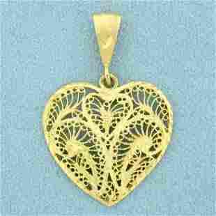Diamond Filigree Heart Pendant in 14K Yellow Gold