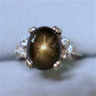 Star Sapphire and Diamond Ring in 14K White Gold