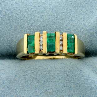 Natural Emerald and Diamond Channel Set Ring in 10K