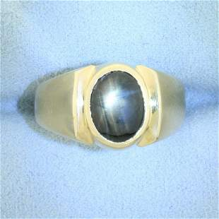 Natural 2.5ct Black Star Sapphire Solitaire Ring in 14K