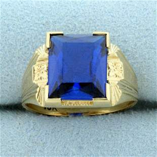 Vintage 6ct Lab Sapphire Solitaire Ring in 10K Yellow