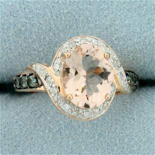 3ct Morganite, Green Topaz, and Diamond Halo Style Ring