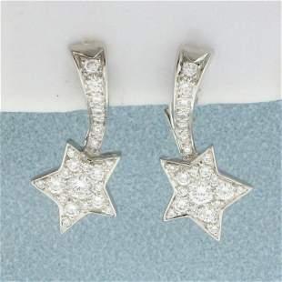 Authentic Chanel Comete Diamond Star Earrings in 18K