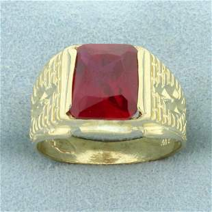 Men's 5ct Lab Ruby Solitaire Ring in 10K Yellow Gold