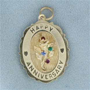 Happy Anniversary Pendant  with Ruby Sapphire, Emerald,