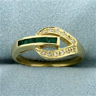 Unique Emerald and Diamond Ring in 14K Yellow Gold