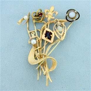 Custom Designed Symbolic Abstract Pin in 14K Yellow