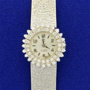 Antique Womens Diamond Swiss Made 17 Rubis Incabloc