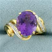 5ct Amethyst and Diamond Ring in 10K Yellow and White