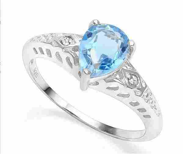 1.4CT Sky Blue Topaz & Diamond Ring in Sterling Silver