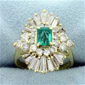 Vintage 3.5ct TW Emerald and Diamond Ring in 14K Yellow