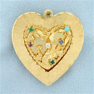 Nature Design Multi-Gemstone Large Heart Pendant in 14K