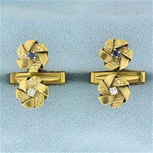 Vintage Sapphire and Diamond Pinwheel Design Cuff Links