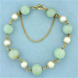 Jade and Pearl Ball Bead Bracelet in 14K Yellow Gold