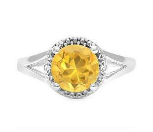 1.8CT Golden Citrine & Diamond Halo Ring in Sterling