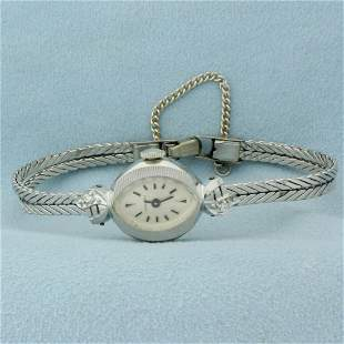 Vintage Womens Windup Longines Diamond Wrist Watch in
